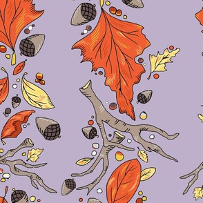 Falling Leaves Stripe soft lavender