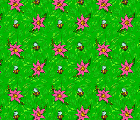 Pink flowers and Green leaves fabric by antonybriggs on Spoonflower - custom fabric