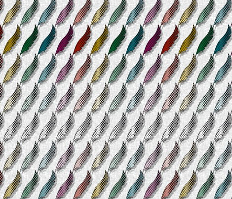 Tweets coordinate Feather (White) fabric by vannina on Spoonflower - custom fabric