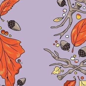 falling leaves narrow stripe lavender