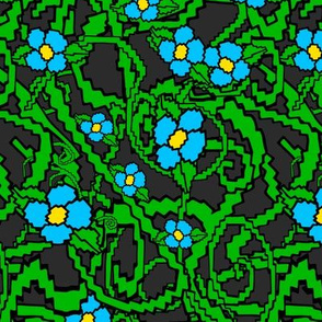 Blue Pixel Flower Bramble