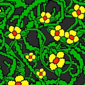Yellow on charcoal Pixel flowers - Grey background