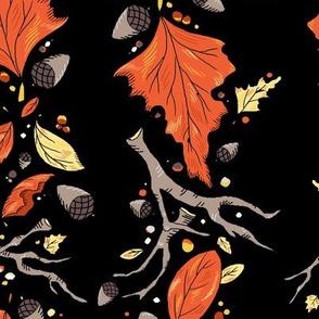 Falling Leaves Stripe Dramatic Black