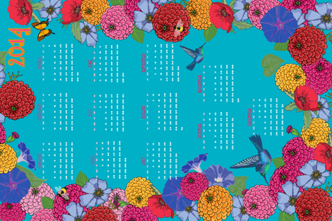 Melody's Garden 2014 Tea Towel Calendar fabric by shellypenko on Spoonflower - custom fabric