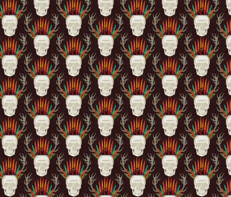 skull dark small fabric by scrummy on Spoonflower - custom fabric
