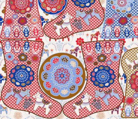 christmass_socks_dala_horse_petit fabric by nadja_petremand on Spoonflower - custom fabric