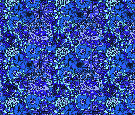 Blue Hippy Flowers fabric by antonybriggs on Spoonflower - custom fabric