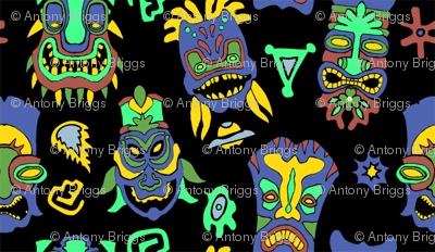 Dark Tiki Masks Wallpaper