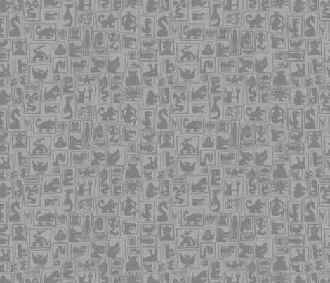 Grey Monster Silhouettes fabric by antonybriggs on Spoonflower - custom fabric