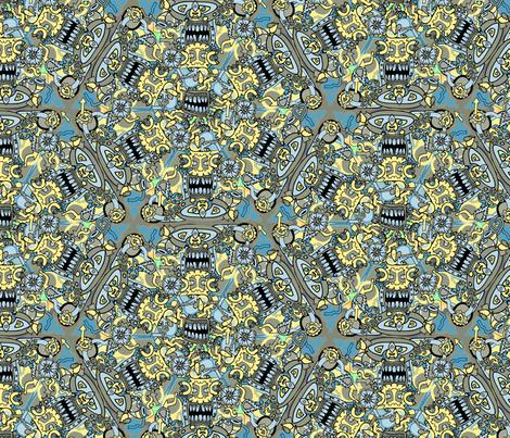 Trippy Tiki Faces  fabric by antonybriggs on Spoonflower - custom fabric