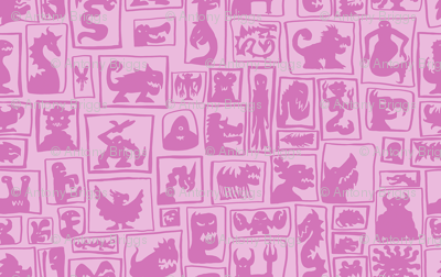 Light Pink Monster Silhouettes