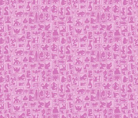 Light Pink Monster Silhouettes fabric by antonybriggs on Spoonflower - custom fabric
