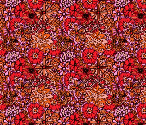 Orange  and Pink Hippy Flowers fabric by antonybriggs on Spoonflower - custom fabric