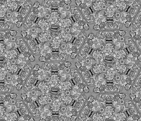 Grey Scary Face Nightmare fabric by antonybriggs on Spoonflower - custom fabric