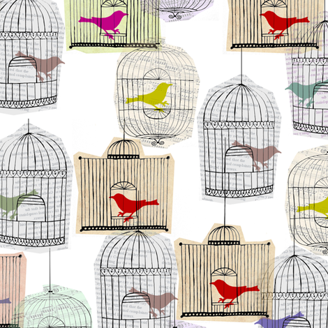 Colourful Birdcages  fabric by sary on Spoonflower - custom fabric