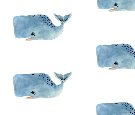 Blue Whale on White Background fabric by taraput on Spoonflower - custom fabric