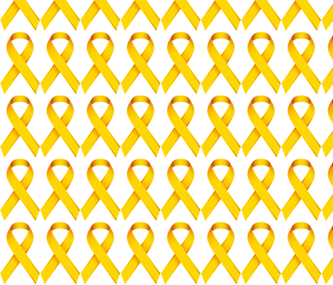 gold ribbon for childhood cancer awareness fabric tessa