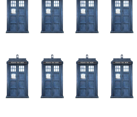 Blue Police Phone Boxes fabric by janinez on Spoonflower - custom fabric