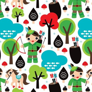 Robin Hood woodland print for boys