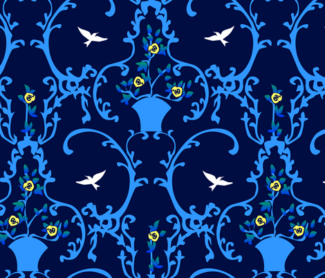 happy place - blue fabric by glimmericks on Spoonflower - custom fabric