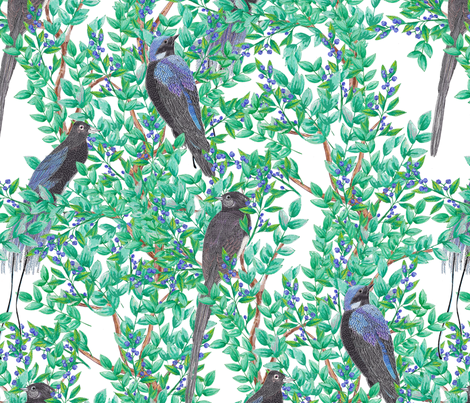 Birds in Trees (large scale) fabric by lydia_meiying on Spoonflower - custom fabric