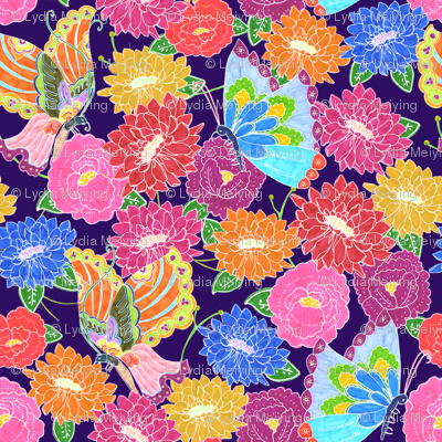 Butterflies & Flowers (dark background)