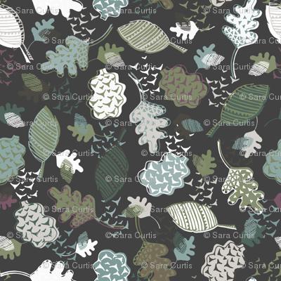 Modern Geometric Autumn Leaves Brown