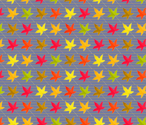 leaf_line_storm_blue fabric by tangled_vine_studio on Spoonflower - custom fabric
