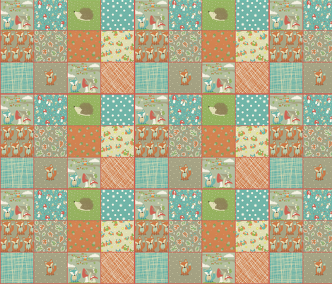 woodlane quilt top  fabric by littlemusings on Spoonflower - custom fabric