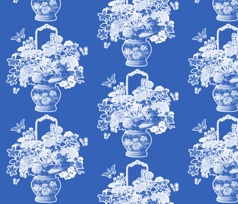 Chinoiserie Vase in Dark Blueberry fabric by lilyoake on Spoonflower - custom fabric