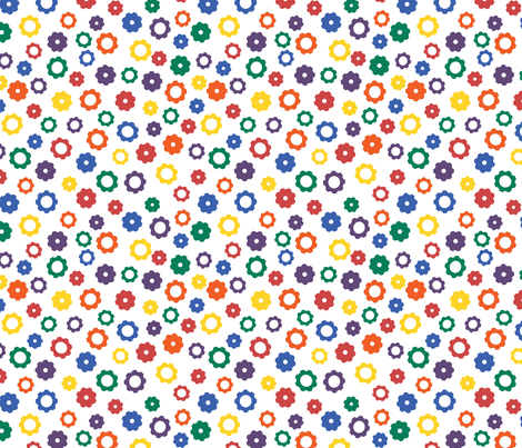 Rainbow Robot Gears fabric by robyriker on Spoonflower - custom fabric