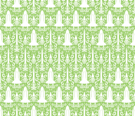 Rocket Science Damask (Green) fabric by robyriker on Spoonflower - custom fabric