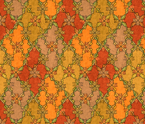 Autumn Leaves Argyle - Deep Fall fabric by glimmericks on Spoonflower - custom fabric