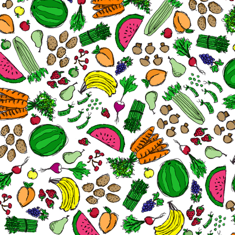 Market Fresh Fruits & Veggies fabric by robyriker on Spoonflower - custom fabric