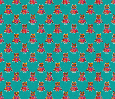 THE OWL WEARING GOGGLES on Turquoise fabric by paysmage on Spoonflower - custom fabric