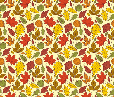 autumn leaves fabric by kiyanochka on Spoonflower - custom fabric