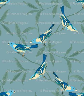 BRIGHT BIRDS ON AQUA