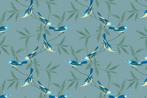 BRIGHT BIRDS ON AQUA fabric by stitchstapleglue on Spoonflower - custom fabric