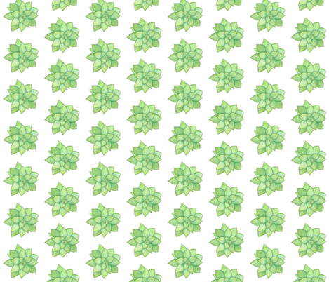 Green garden succulents fabric by laurenmholton on Spoonflower - custom fabric