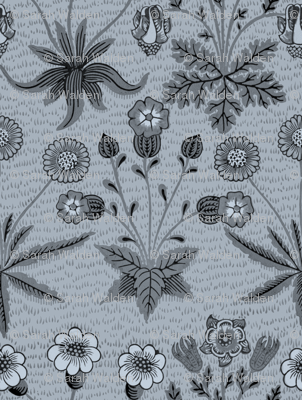 William Morris Daisy ~ Versailles Blue and Black