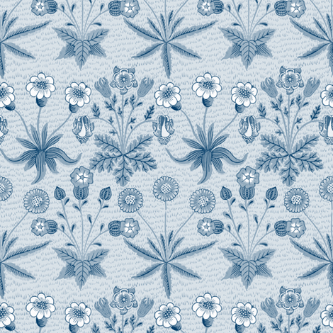 William Morris Daisy ~ Lonely Angel Blue and White fabric by peacoquettedesigns on Spoonflower - custom fabric