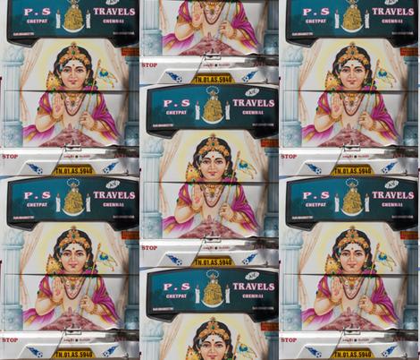 Hindu God on the Back of a Bus, Chennai fabric by susaninparis on Spoonflower - custom fabric