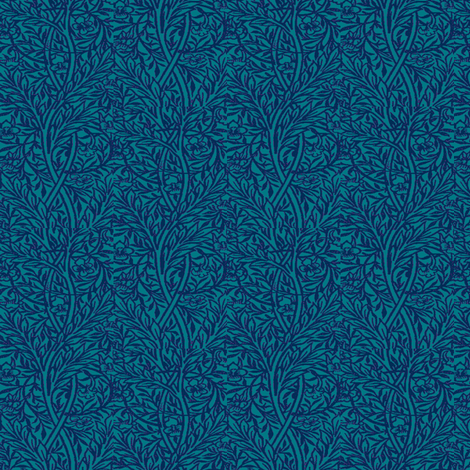 Kingfisher Blue Peacock Vine fabric by amyvail on Spoonflower - custom fabric