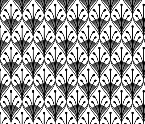 Peacock feathers black and white fabric by spacefem on Spoonflower - custom fabric