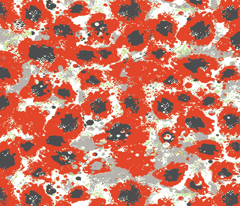 poppies_camouflagewith_green-ch-ch fabric by susiprint on Spoonflower - custom fabric