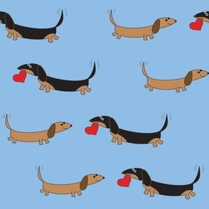 Dachshunds with Heart by Sudachan - Blue