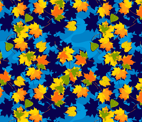 Fall Leaves in the Stream fabric by kwikdrw on Spoonflower - custom fabric