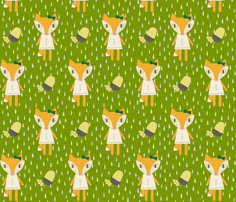 Fox In The Rain fabric by juliastaite on Spoonflower - custom fabric