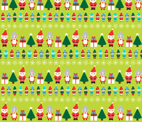Santa & Friends  fabric by bubbledog on Spoonflower - custom fabric