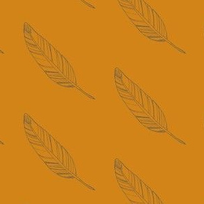 penciled feather in orange